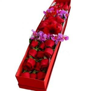 Caja de rosas rojas para enviar a Bogotá