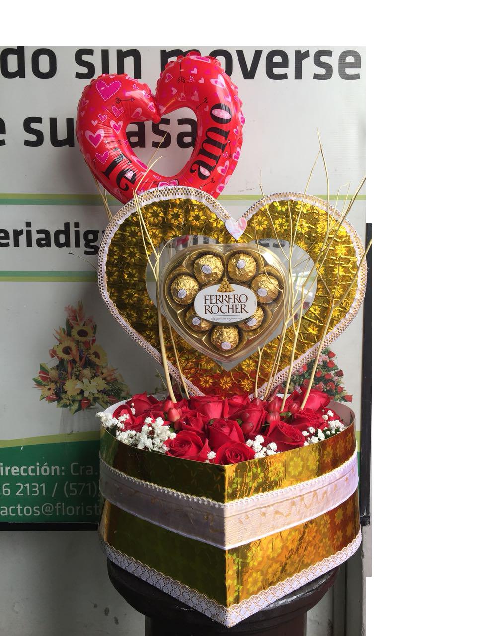 regalo de rosas y chocolates