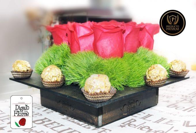 Rosas con chocolates Ferrero Rocher en bogota