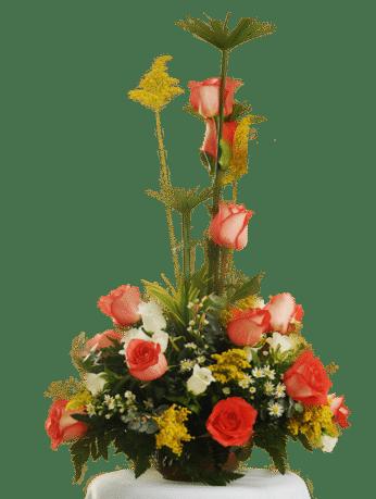 flores bicolor, con base de madera