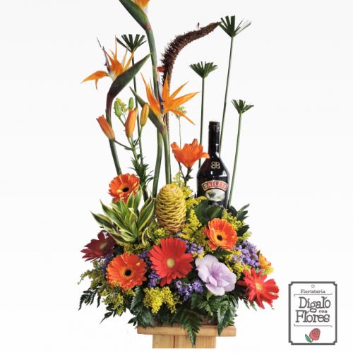 Flores exóticas acompañadas de Baileys
