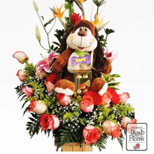 Flores, peluche y chocolates