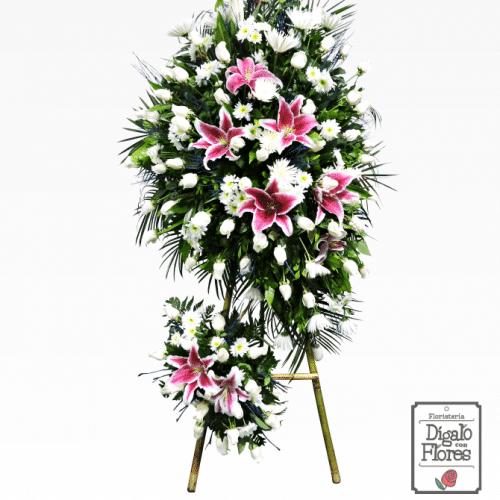 Corona fúnebre rosas y lirios
