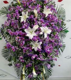 Corona funebre morada y blanca